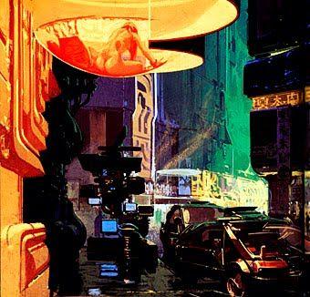 Entrada al local de Taffy. El coche de Frank está aparcado en la puerta. Una de las cosas que asombran de Blade Runner es la cantidad ingente de luz y de oscuridad que necesitó el mejor future noir de la historia.