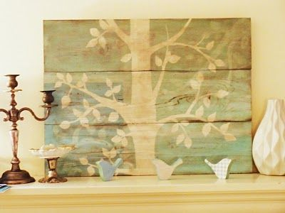 Teal tree painted on planks tutorial.