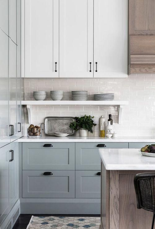 Soft Blue Gray Kitchen Cabinets Are So Stunning And Love The Mix Of Painted Cabinets Wi Blue Gray Kitchen Cabinets Kitchen Cabinets Decor Grey Kitchen Cabinets