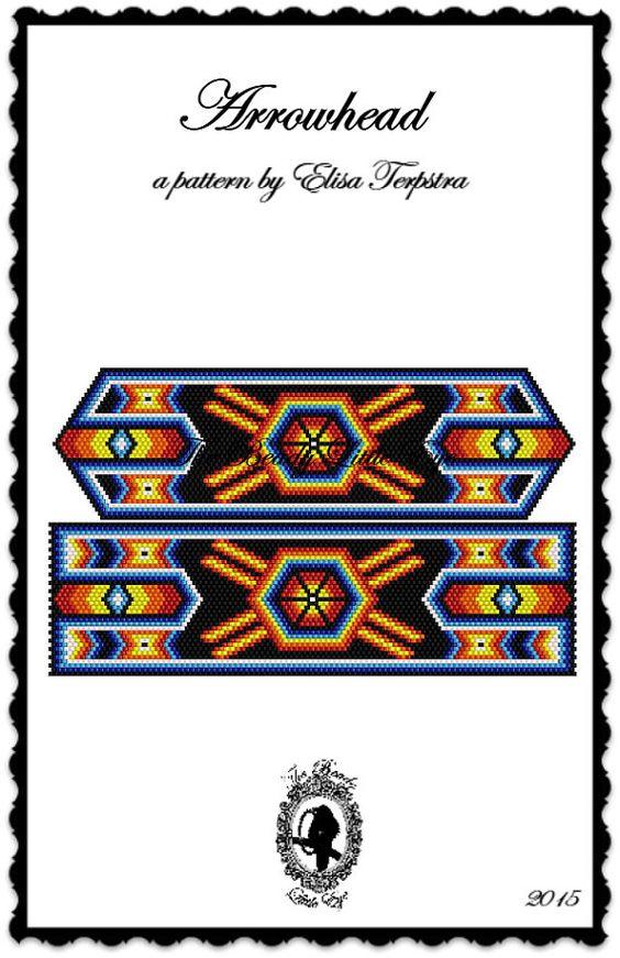 Peyote Pattern Bracelet Peyote Stitch Beading Patterns Peyote Bracelet Native American Mexican Huichol Indian Geometric Arrowhead Pattern