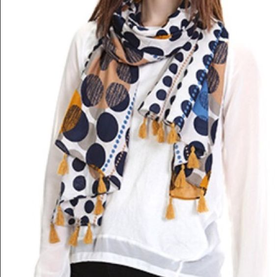 Polka dot print tassel scarf Yellow 72 inch long x 26 inch wide. Accessories Scarves & Wraps