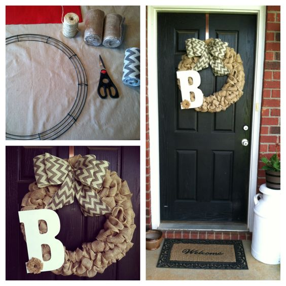 Burlap and Chevron Bow Wreath. I bought all the supplies at Hobby Lobby! It only took me 30 minutes to make it and cost me $25