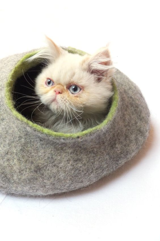 Cat house/Cat bed/Cat cave/Cat vessel. Handmade from natural wool. Grey/Green
