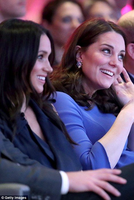 Kate and Meghan looked happy in each other's company at the event... #katemiddleton