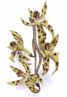 Orchid brooch c1889-96 | G. Paulding Farnham for Tiffany & Co. | gold,  diamonds, enamel: