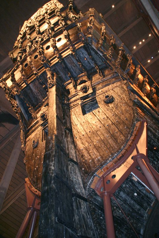 Stern of museum ship Vasa, salvaged from the bottom of the sea just outside Stockholm city in 1961 after 333 years. Put together and displayed in a fantastic museum at Djurgården.  It was the pride of the Swedish war fleet and sank on its maiden voyage in 1628.