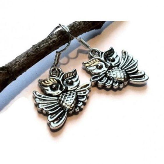 Silver Flying Owl Earrings