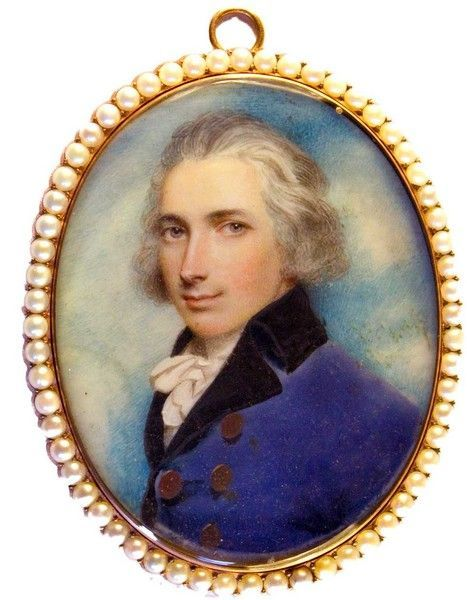 18th Century Portrait Miniature of General Foot, in lilac coat, painted on ivory...