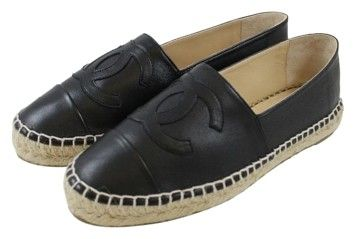 Chanel Classic Black Lambskin Espadrilles Leather Size Eu 39 Flats | Flats on Sale at Tradesy