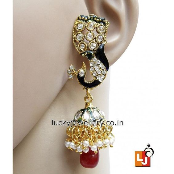 Looking for cool and funky #jewelry accessories. Try this beautiful Designer Multy Party Wear #Jhumki style #Earring. Get it now online from #LuckyJewellery. This #monsoon flaunt elegance with this stylish earring. #jewellery #fashion #style #wedding http://ift.tt/29wQ7Ic
