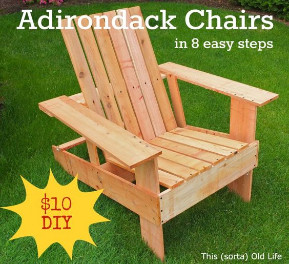 Adirondack Chair in 8 steps using simple tools, around 10 dollars, and 2 hours.