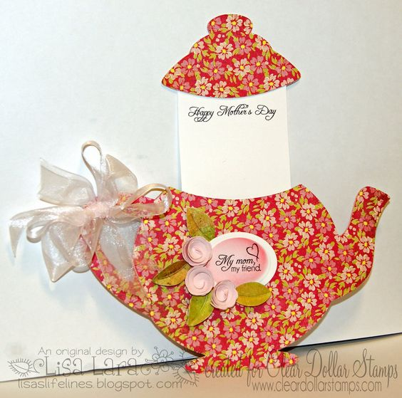 Teapot shaped card with pull out lid - bjl