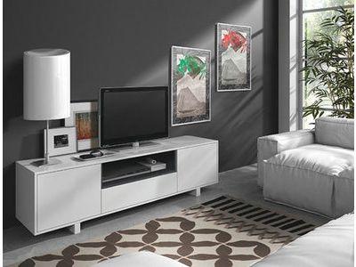 109e Meuble TV. Porte battante sur les côtés + 1 sur le bas, 1 niche.Coloris blanc brillant et gris cendré.   Panneaux de particules mélaminés. A assembler.