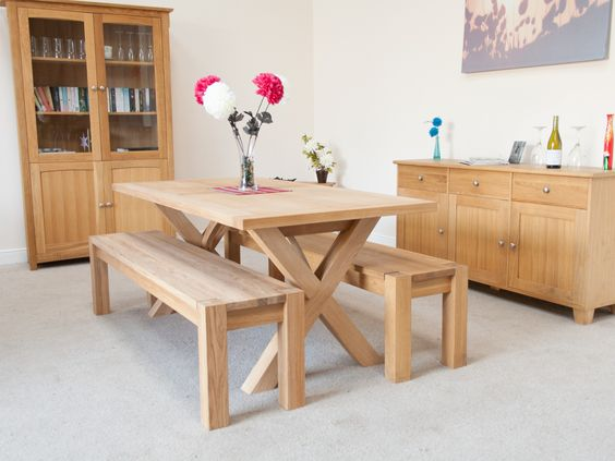 Provence 1.8m Cross Leg Oak Table | 8 Seater Cross Leg Table