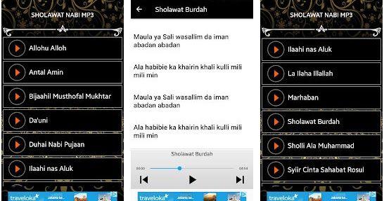Sholawat Nabi Mp3 Offline Gratis Lirik Aplikasi Android Membaca