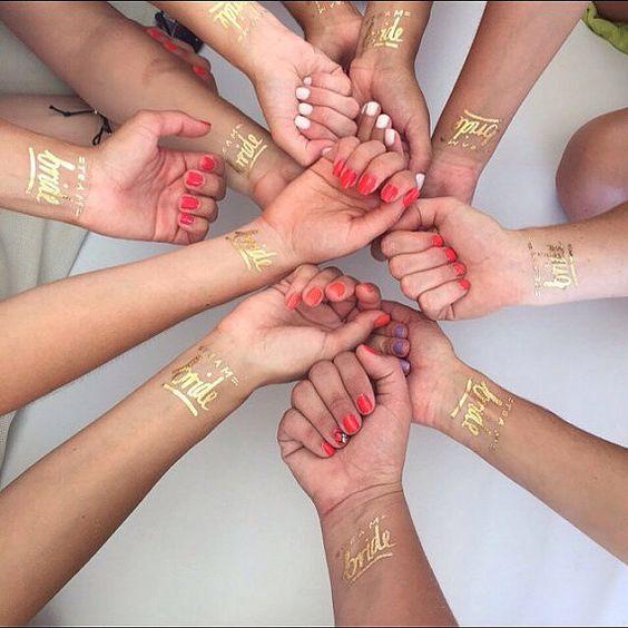 Jeu de 12 Tatouage de mariée équipe © par DaydreamPrints sur Etsy: