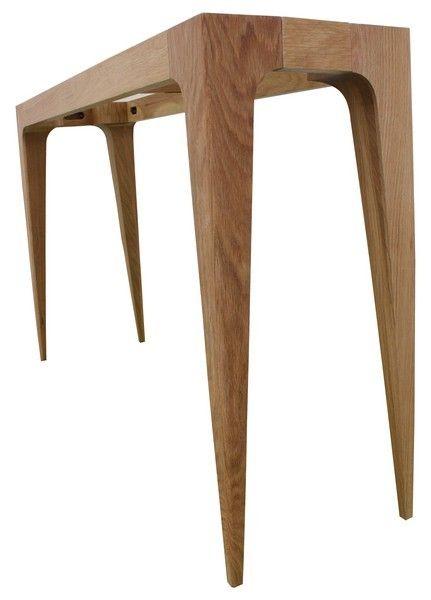 console design ligne en bois de chêne massif - plateau gris-bleu ... - Meubles Consoles Design
