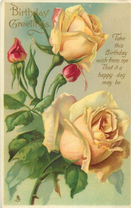 Birthday Greetings ~ two yellow roses & three orange-red buds: