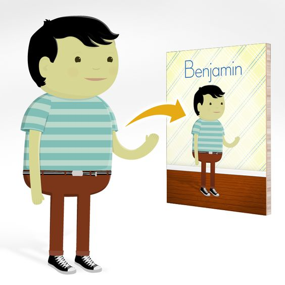 The Striped Shirt - Custom Portrait on Bamboo Board.  So cute!