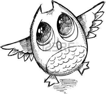 owl: Croquis mignon d'art de griffonnage Illustration Vecteur Owl Illustration