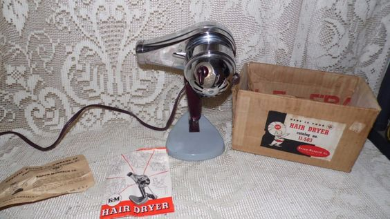 Vintage Knapp Monarch KM Retro Chrome Hair Dryer With Stand Box Papers by FabulousFinds1 on Etsy