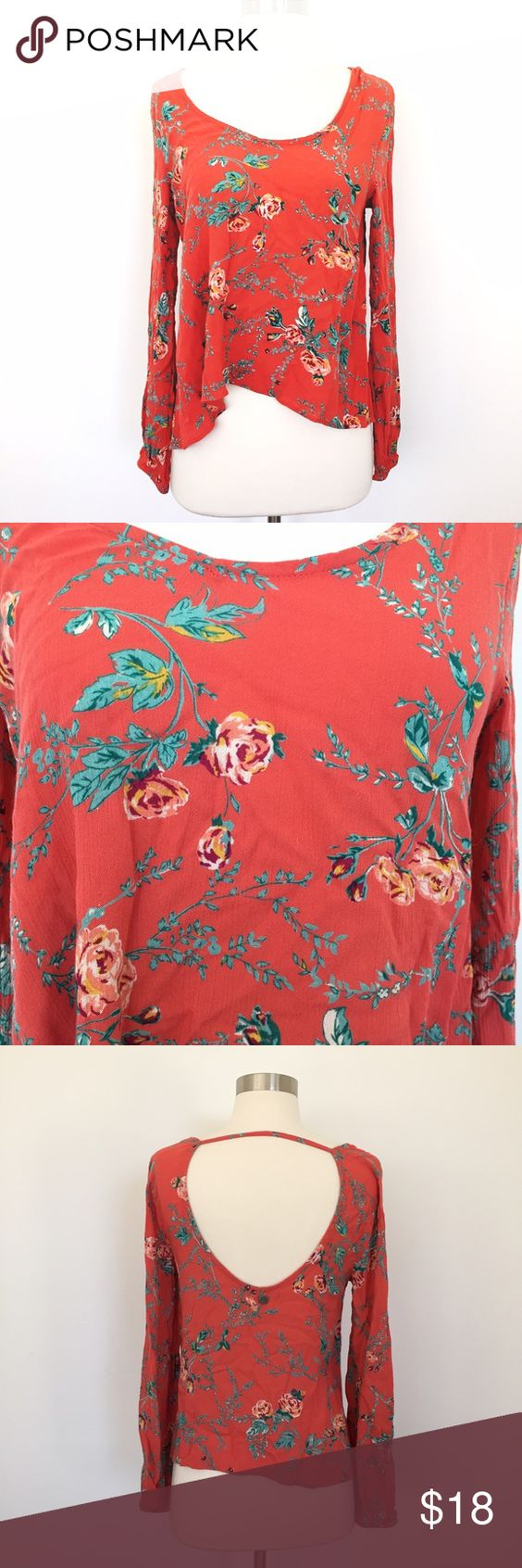 Billabong: Orange Red Floral Print Top Scoop Back Beautiful top with relaxed off the shoulder fit. Lovely material and pattern. Never worn. Billabong Tops Blouses
