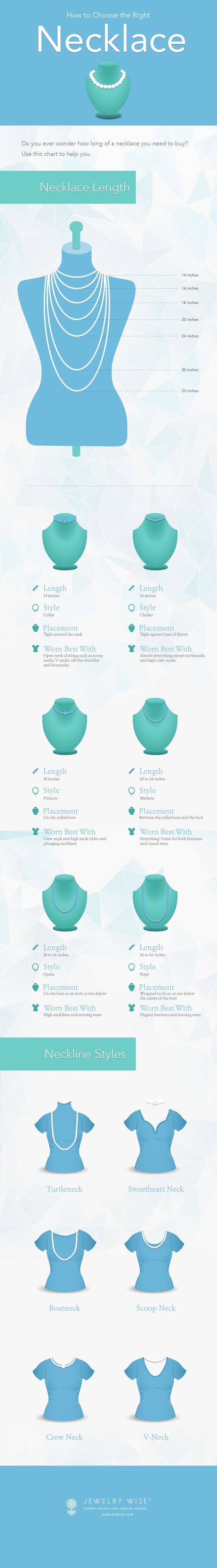 Use this infographic to help you decide the best necklace length for you as well as what to wear it with