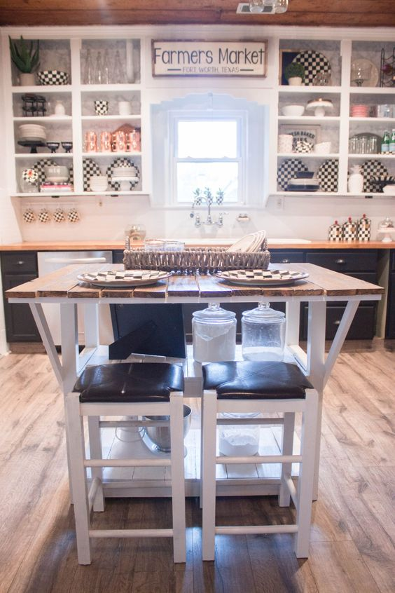 Black And White Industrial Glam Farmhouse Kitchen At