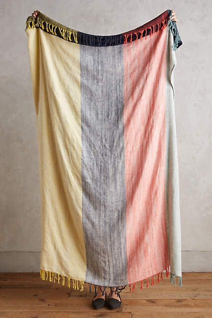 Anthropologie Brushed Colorblock Throw