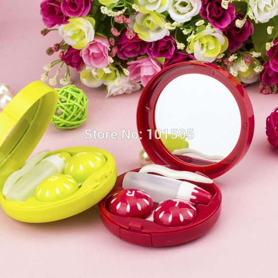 New Sweet Cute Fruit Series Pattern Contact Lenses Box Contact Lens Case Spectacle Cases Lottery Welfare 7.4*7.4*2.4cm