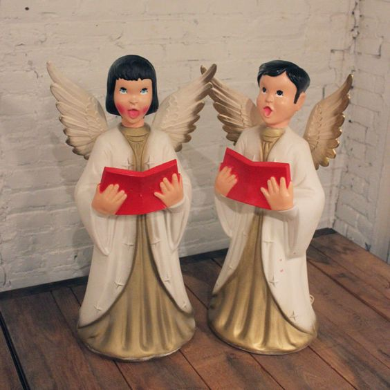 Vintage Ceramic Christmas Carolers Choir Boy And Girl: Vintage Beco Christmas Caroling Boy & Girl Choir Angels 29