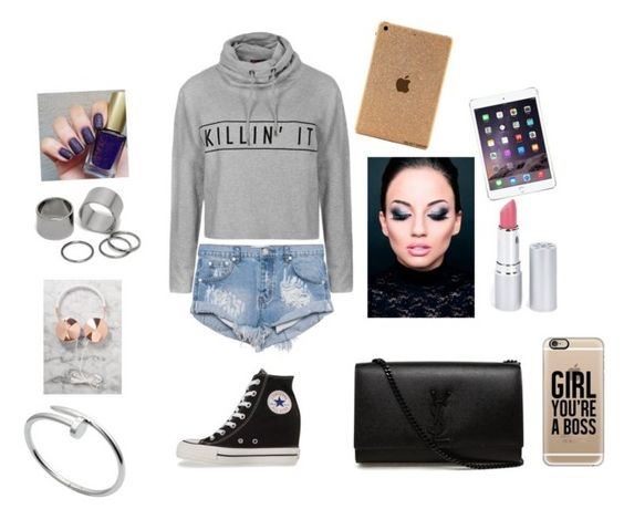 """""""Untitled #45"""" by somiakhan on Polyvore featuring interior, interiors, interior design, home, home decor, interior decorating, Ally Fashion, One Teaspoon, Converse and Yves Saint Laurent"""