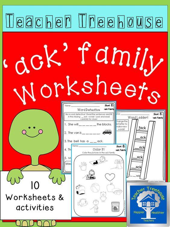 ack word family worksheets morning work homework and worksheets. Black Bedroom Furniture Sets. Home Design Ideas