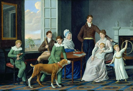 william berczy- the woolsey family 1809. establishing familial pride through commissioning of painting. documents/depicts family, but laden with symbolism. dog-fidelity, gold, blue- royalty, wealth, elegance, refinement. white-virginal, madonna and child. man at the top- protective, triangle. then attributes of education repres. through reading, music etc. using europ. model.