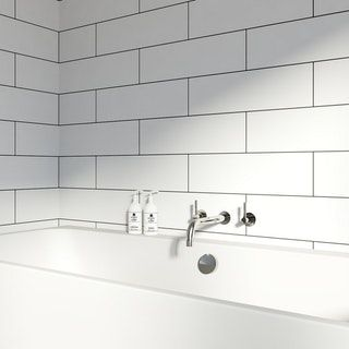 British Ceramic Tile Maxi Metro Pure White Matt Tile 148mm X 498mm Cheap Bathroom Flooring Bathroom Wall Tile Wall Tiles