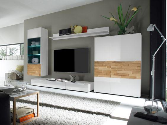 Design Wohnwand Anbauwand Weiß Grau ~ SOLITO Wohnwand  Anbauwand II weiss  Wohnzimmer  Pinterest  Modern