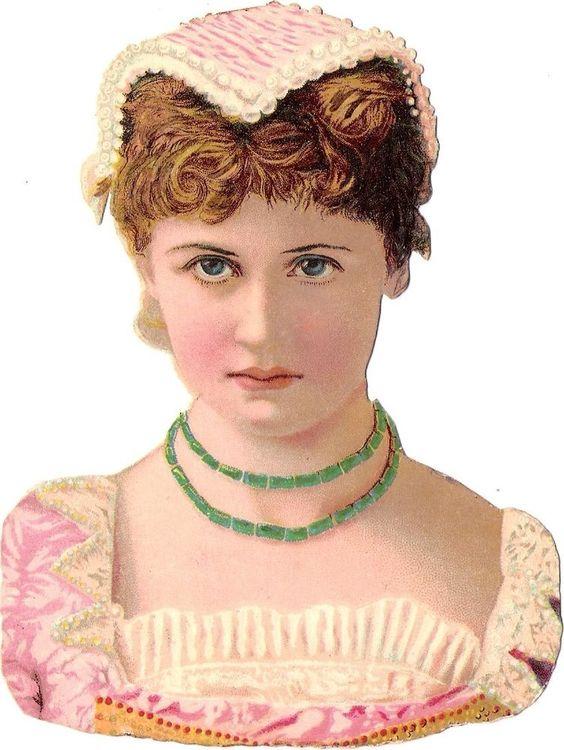 Oblaten Glanzbild scrap diecut chromo Dame  14cm lady Frau Kopf Porträt: