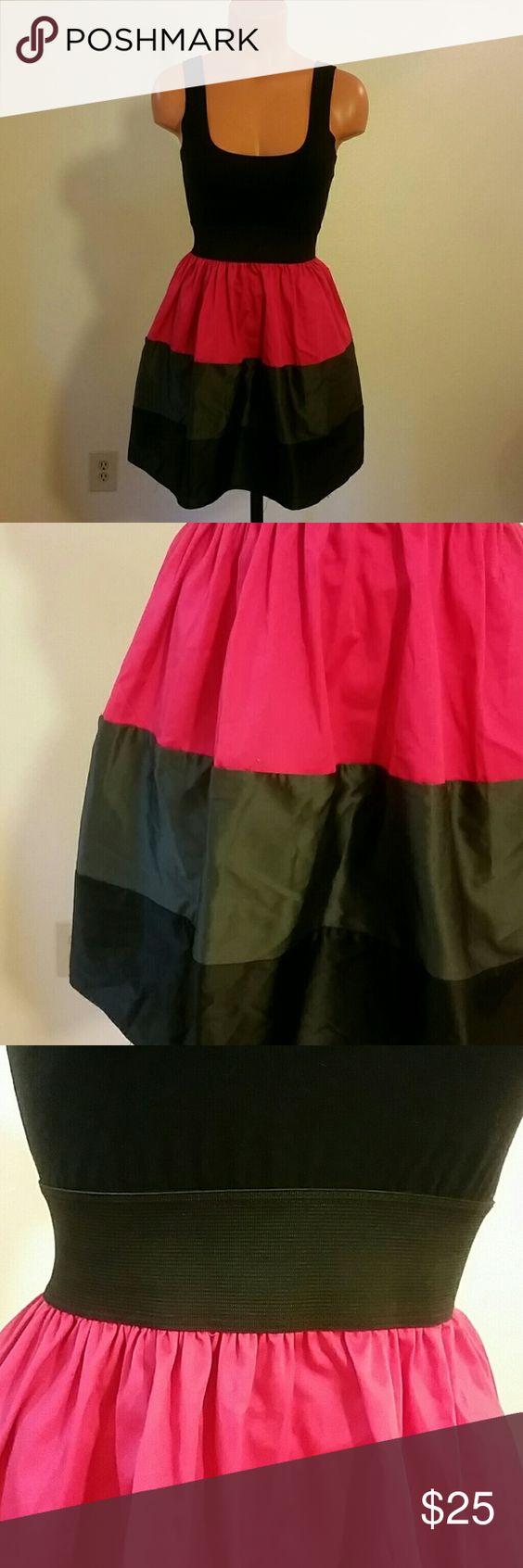 Color block party dress - Color Block Party Dress Hot Pink Black And Silver Gray Colorblock Party Dress