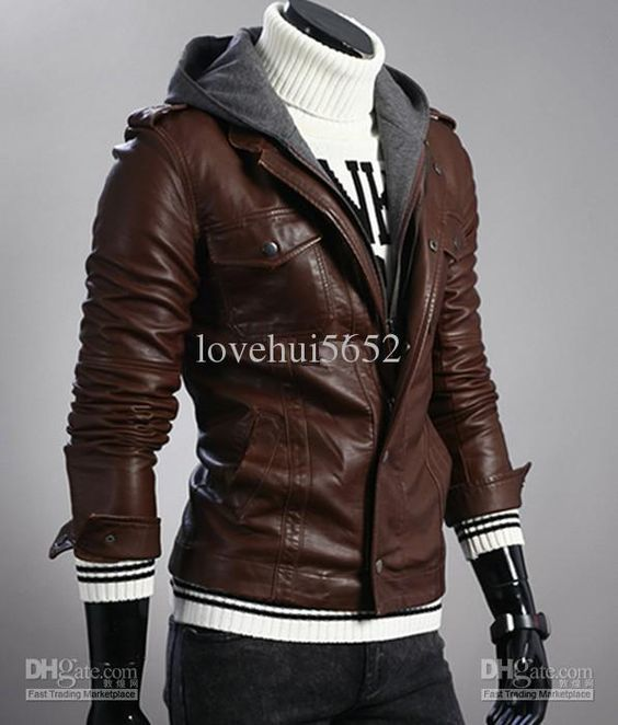 Wholesale New monde Men's Slim Sexy leather Hoodie Motorcycle Jacket Coat Brown Size:M/L/XL/XXL 1681, Free shipping, $53.41/Piece | DHgate Mobile