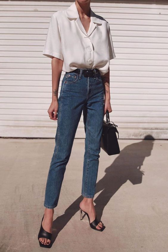15+ Minimalistic Outfits For Spring  #blue Blue jeans white shirt #minimal