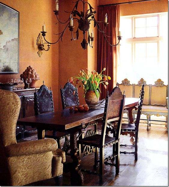 Spanish revival spanish and california on pinterest for Tuscan dining room ideas