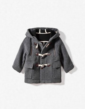 boys hooded duffle-coat Zara coats clothes fashion kid $55.90