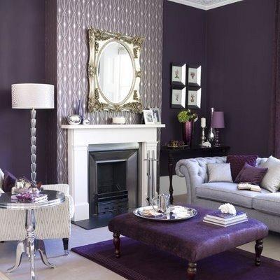 tnabee: Purple Living Room  purple walls paint color, white fireplace, purple ottoman, gray ...