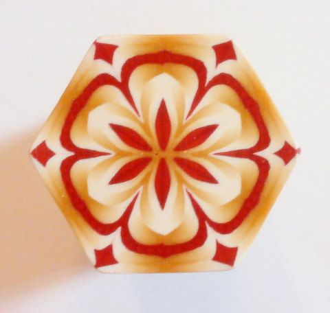 LARGE Maroon Gold and Cream Hexagon Polymer Clay by ClaybyKerm, $10.00