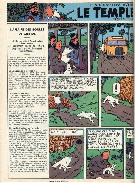 Page n° 6 du Journal de Tintin N° 1 du 26 Septembre 1946 Auteur : Hergé Titre : Le temple du soleil Planche n° 1
