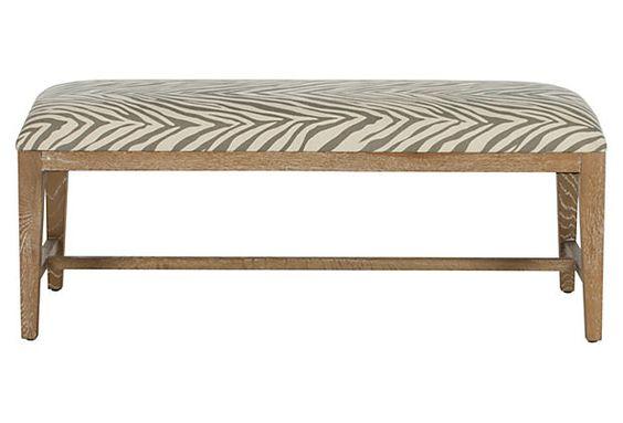 Stella Zebra Bench Gray Cream Furniture Upholstered Bench Bench Furniture