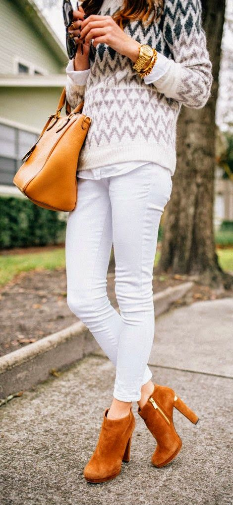 Brushed Fair-isle Sweater, White Skinny Jeans, Booties - Sequins and Things