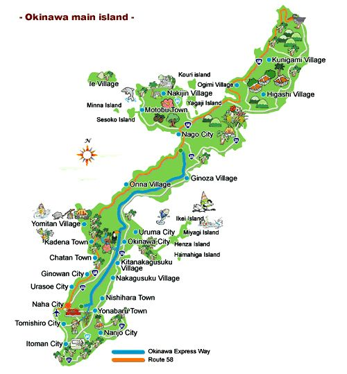 Top 10 Attractions on Okinawa plus Okinawa island map – Japan Map For Tourist