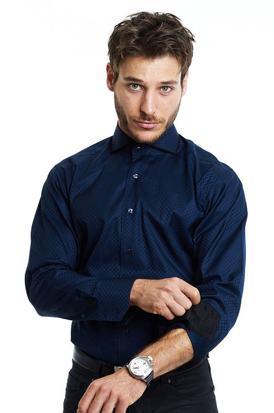 MACEOO ELEGANT NAVY BLUE DRESS SHIRT FOR MEN WITH BLACK CUFF LINER ...
