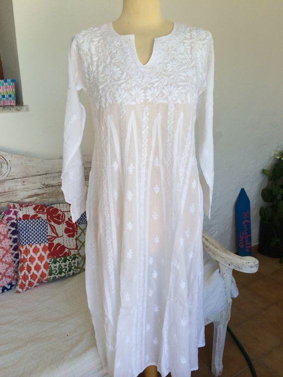 White long  boho cotton dress with full hand by AUROBELLE on Etsy